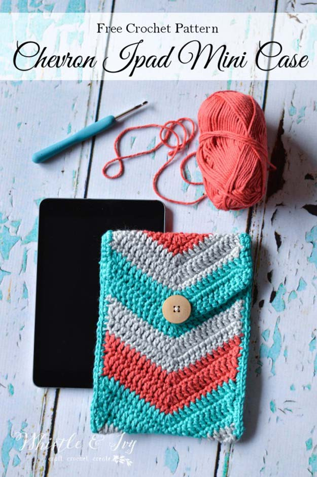 Best DIY Chevron Projects - DIY Crochet Chevron iPad Mini Case - DIY Wall Art, Home and Room Decor, Canvas Crafts With Chevrons, Furniture and Chairs, Decorations With Paint Ideas Using Chevron Patterns for Bedroom, Bathroom and Teens Rooms. Learn How To Tape Chevron Art With Easy To Follow Step by Step Tutorials http://diyprojectsforteens.com/diy-projects-chevron