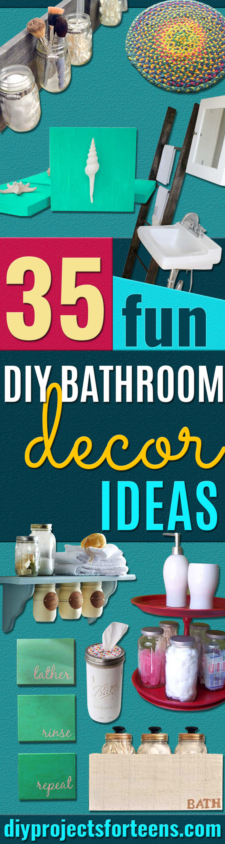 DIY Bathroom Decor Ideas for Teens - Best Creative, Cool Bath Decorations and Accessories for Teenagers - Easy, Cheap, Cute and Quick Craft Projects That Are Fun To Make. Easy to Follow Step by Step Tutorials http://diyprojectsforteens.com/diy-bathroom-decor-teens