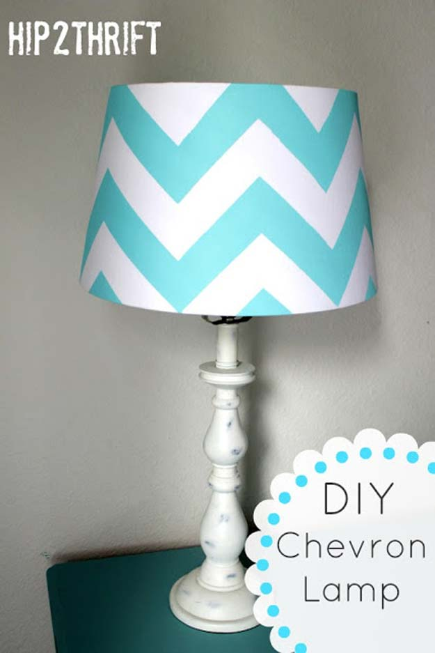 Best DIY Chevron Projects - DIY Chevron Lamp - DIY Wall Art, Home and Room Decor, Canvas Crafts With Chevrons, Furniture and Chairs, Decorations With Paint Ideas Using Chevron Patterns for Bedroom, Bathroom and Teens Rooms. Learn How To Tape Chevron Art With Easy To Follow Step by Step Tutorials http://diyprojectsforteens.com/diy-projects-chevron