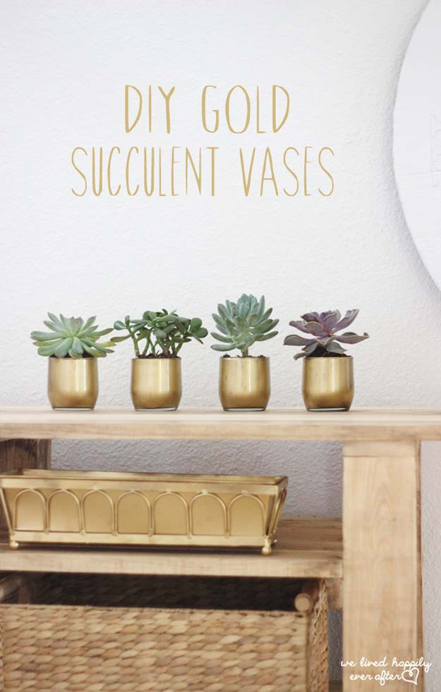 Fun Dollar Store Crafts for Teens - DIY Gold Succulent Vases - Cheap and Easy DIY Ideas for Teenagers to Make for Dollar Stores - Inexpensive Gifts and Room Decor for Tweens, Boys and Girls - Awesome Step by Step Tutorials with Instructions for Cool DIY Projects http://diyprojectsforteens.com/dollar-store-crafts-teens
