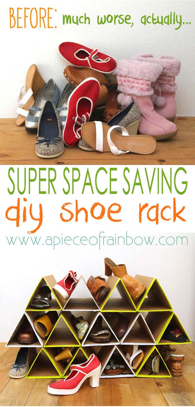 DIY Dorm Room Decor Ideas - Space Saving Shoe Rack - Cheap DIY Dorm Decor Projects for College Rooms - Cool Crafts, Wall Art, Easy Organization for Girls - Fun DYI Tutorials for Teens and College Students http://diyprojectsforteens.com/diy-dorm-room-decor