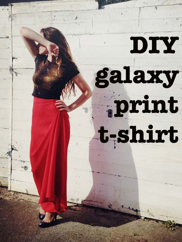 Fun Dollar Store Crafts for Teens - DIY Galaxy T-shirt Tutorial for Cool DIY Fashion - Cheap and Easy DIY Ideas for Teenagers to Make for Dollar Stores - Inexpensive Gifts and Room Decor for Tweens, Boys and Girls - Awesome Step by Step Tutorials with Instructions for Cool DIY Projects http://diyprojectsforteens.com/dollar-store-crafts-teens