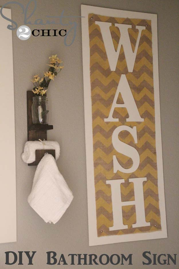 DIY Bathroom Decor Ideas for Teens - Chevron Burlap - Best Creative, Cool Bath Decorations and Accessories for Teenagers - Easy, Cheap, Cute and Quick Craft Projects That Are Fun To Make. Easy to Follow Step by Step Tutorials