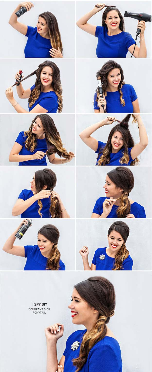 Best Hairstyles for Long Hair - Bouffant Side Ponytail- Step by Step Tutorials for Easy Curls, Updo, Half Up, Braids and Lazy Girl Looks. Prom Ideas, Special Occasion Hair and Braiding Instructions for Teens, Teenagers and Adults, Women and Girls http://diyprojectsforteens.com/best-hairstyles-long-hair