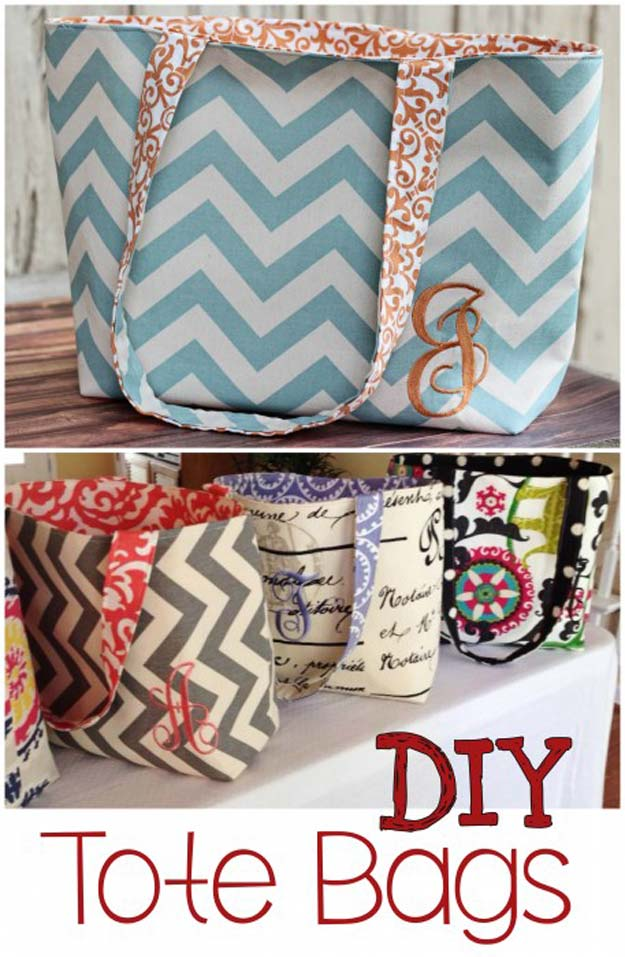 Best DIY Chevron Projects - DIY Monogram Tote Bag Pattern - DIY Wall Art, Home and Room Decor, Canvas Crafts With Chevrons, Furniture and Chairs, Decorations With Paint Ideas Using Chevron Patterns for Bedroom, Bathroom and Teens Rooms. Learn How To Tape Chevron Art With Easy To Follow Step by Step Tutorials http://diyprojectsforteens.com/diy-projects-chevron