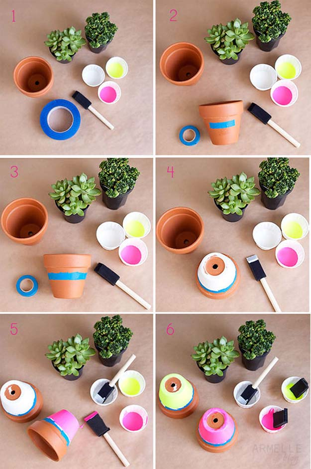 DIY Dorm Room Decor Ideas   Neon Dipped Succulent Pots   Cheap DIY Dorm  Decor Projects