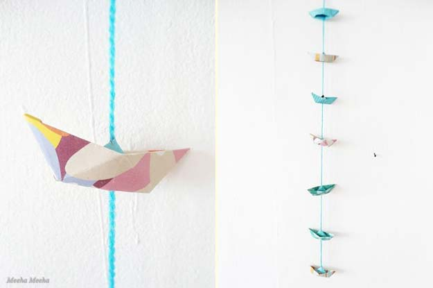 Best Origami Tutorials - Origami Boat Garland - Easy DIY Origami Tutorial Projects for With Instructions for Flowers, Dog, Gift Box, Star, Owl, Buttlerfly, Heart and Bookmark, Animals - Fun Paper Crafts for Teens, Kids and Adults #origami #crafts