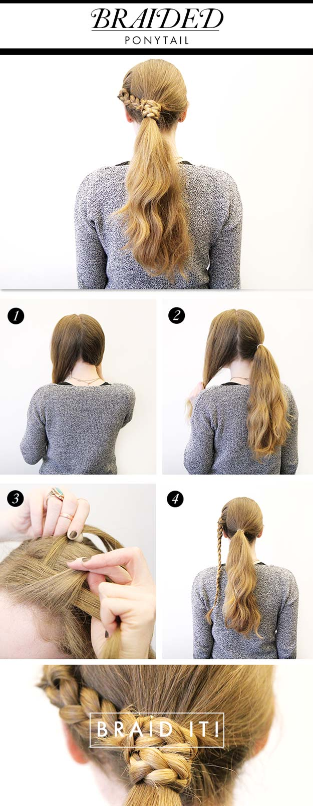 Best Hairstyles for Long Hair - Braided Pony Tail - Step by Step Tutorials for Easy Curls, Updo, Half Up, Braids and Lazy Girl Looks. Prom Ideas, Special Occasion Hair and Braiding Instructions for Teens, Teenagers and Adults, Women and Girls http://diyprojectsforteens.com/best-hairstyles-long-hair