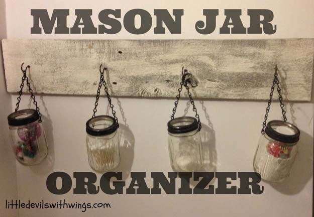 DIY Bathroom Decor Ideas for Teens - Mason Jar Organizer - Best Creative, Cool Bath Decorations and Accessories for Teenagers - Easy, Cheap, Cute and Quick Craft Projects That Are Fun To Make. Easy to Follow Step by Step Tutorials
