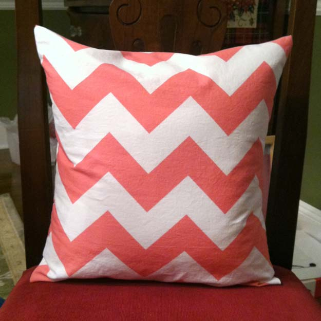 Best DIY Chevron Projects - DIY Chevron Pillow Case - DIY Wall Art, Home and Room Decor, Canvas Crafts With Chevrons, Furniture and Chairs, Decorations With Paint Ideas Using Chevron Patterns for Bedroom, Bathroom and Teens Rooms. Learn How To Tape Chevron Art With Easy To Follow Step by Step Tutorials http://diyprojectsforteens.com/diy-projects-chevron