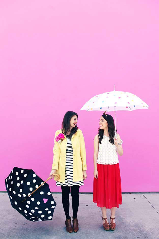 DIY Polka Dot Crafts and Projects - DIY Polka Dot Umbrellas - Cool Clothes, Room and Home Decor, Wall Art, Mason Jars and Party Ideas, Canvas, Fabric and Paint Project Tutorials - Fun Craft Ideas for Teens, Kids and Adults Make Awesome DIY Gifts