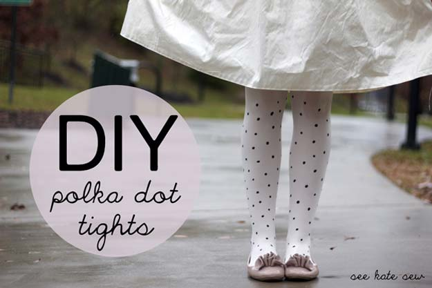 DIY Polka Dot Crafts and Projects - DIY Polka Dot Tights - Cool Clothes, Room and Home Decor, Wall Art, Mason Jars and Party Ideas, Canvas, Fabric and Paint Project Tutorials - Fun Craft Ideas for Teens, Kids and Adults Make Awesome DIY Gifts