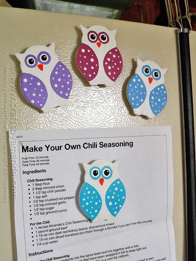 DIY Polka Dot Crafts and Projects - DIY Polka Dot Owl Magnet - Cool Clothes, Room and Home Decor, Wall Art, Mason Jars and Party Ideas, Canvas, Fabric and Paint Project Tutorials - Fun Craft Ideas for Teens, Kids and Adults Make Awesome DIY Gifts