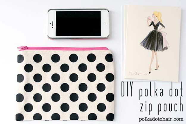 DIY Polka Dot Crafts and Projects - DIY Polka Dot Zip Pouch - Cool Clothes, Room and Home Decor, Wall Art, Mason Jars and Party Ideas, Canvas, Fabric and Paint Project Tutorials - Fun Craft Ideas for Teens, Kids and Adults Make Awesome DIY Gifts