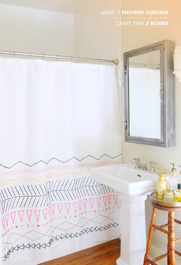 DIY Bathroom Decor Ideas for Teens - Make It Shower Curtain - Best Creative, Cool Bath Decorations and Accessories for Teenagers - Easy, Cheap, Cute and Quick Craft Projects That Are Fun To Make. Easy to Follow Step by Step Tutorials