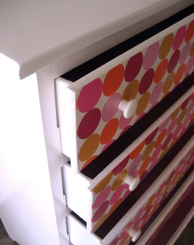 DIY Polka Dot Crafts and Projects - DIY Polka Dot Drawer - Cool Clothes, Room and Home Decor, Wall Art, Mason Jars and Party Ideas, Canvas, Fabric and Paint Project Tutorials - Fun Craft Ideas for Teens, Kids and Adults Make Awesome DIY Gifts