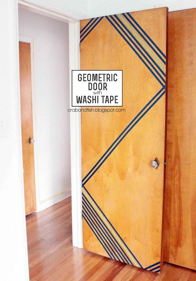 DIY Dorm Room Decor Ideas - Washi Tape Geometric Door - Cheap DIY Dorm Decor Projects for College Rooms - Cool Crafts, Wall Art, Easy Organization for Girls - Fun DYI Tutorials for Teens and College Students #diyideas #roomdecor #diy #collegelife #teencrafts