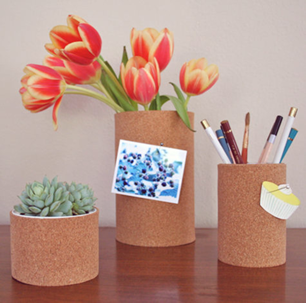 DIY Dorm Room Decor Ideas - Britini's Cork Containers - Cheap DIY Dorm Decor Projects for College Rooms - Cool Crafts, Wall Art, Easy Organization for Girls - Fun DYI Tutorials for Teens and College Students #diyideas #roomdecor #diy #collegelife #teencrafts