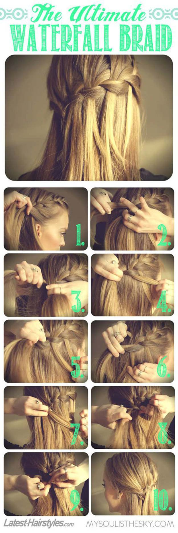 Best Hairstyles for Long Hair - Ultimate Waterfall Braid - Step by Step Tutorials for Easy Curls, Updo, Half Up, Braids and Lazy Girl Looks. Prom Ideas, Special Occasion Hair and Braiding Instructions for Teens, Teenagers and Adults, Women and Girls http://diyprojectsforteens.com/best-hairstyles-long-hair