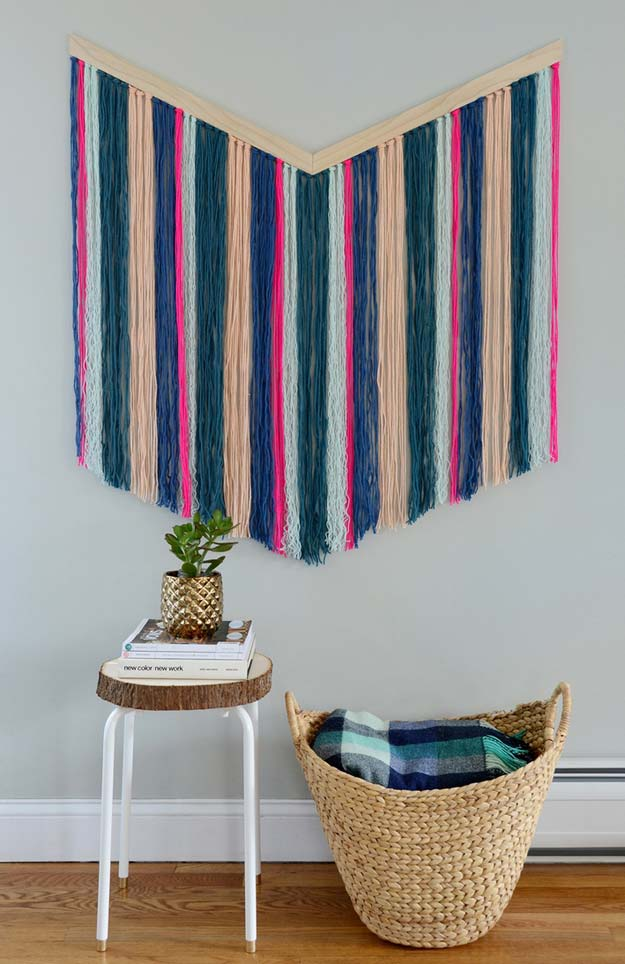 Best DIY Chevron Projects - DIY Chevron Yarn Wall Hanging - DIY Wall Art, Home and Room Decor, Canvas Crafts With Chevrons, Furniture and Chairs, Decorations With Paint Ideas Using Chevron Patterns for Bedroom, Bathroom and Teens Rooms. Learn How To Tape Chevron Art With Easy To Follow Step by Step Tutorials http://diyprojectsforteens.com/diy-projects-chevron