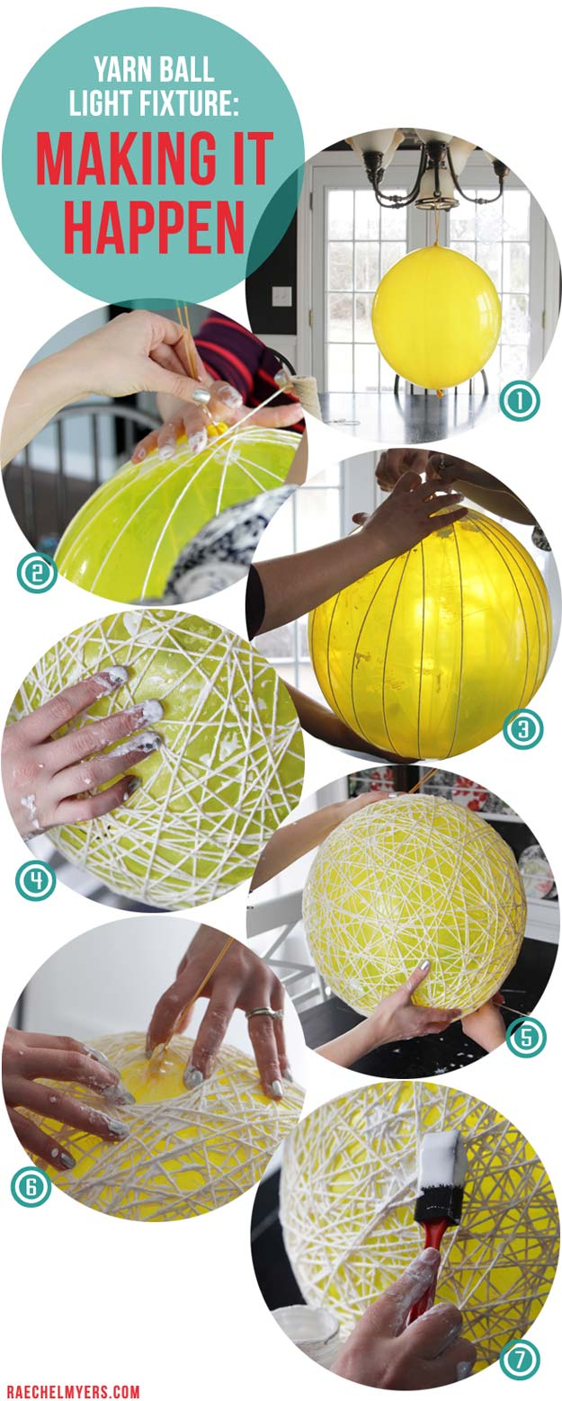 Best DIY Ideas from Tumblr - DIY Yarn Ball Light Fixture - Crafts and DIY Projects Inspired by Tumblr are Perfect Room Decor for Teens and Adults - Fun Crafts and Easy DIY Gifts, Clothes and Bedroom Project Tutorials for Teenagers and Tweens http://diyprojectsforteens.com/diy-projects-tumblr