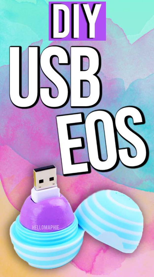 Best DIY EOS Projects - DIY USB EOS - Turn Old EOS Containers Into Cool Crafts Ideas Like Lip Balm, Galaxy, Gumball Machine, and Watermelon - Fun, Cheap and Easy DIY Projects Tutorials and Videos for Teens, Tweens, Kids and Adults s