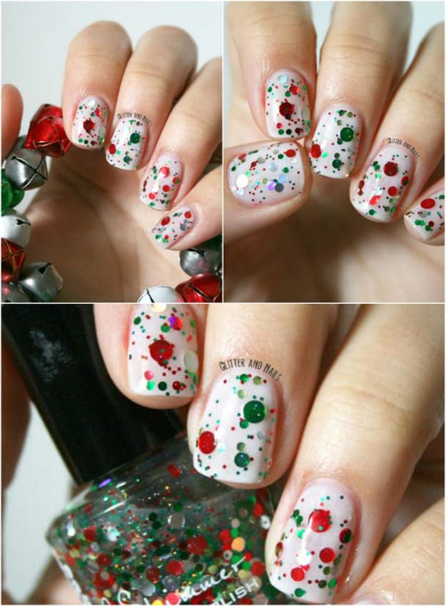 Cool DIY Nail Art Designs and Patterns for Christmas and Holidays - DIY Red and Green Glitter - Do It Yourself Manicure Ideas With Christmas Trees, Candy Canes, Snowflakes and Glittery Designs for Holiday Nails - Step by Step Tutorials and Instructions http://diyprojectsforteens.com/holiday-nail-art-patterns/