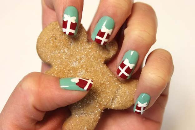 Cool DIY Nail Art Designs and Patterns for Christmas and Holidays - DIY Gift Box Nails - Do It Yourself Manicure Ideas With Christmas Trees, Candy Canes, Snowflakes and Glittery Designs for Holiday Nails - Step by Step Tutorials and Instructions http://diyprojectsforteens.com/holiday-nail-art-patterns/