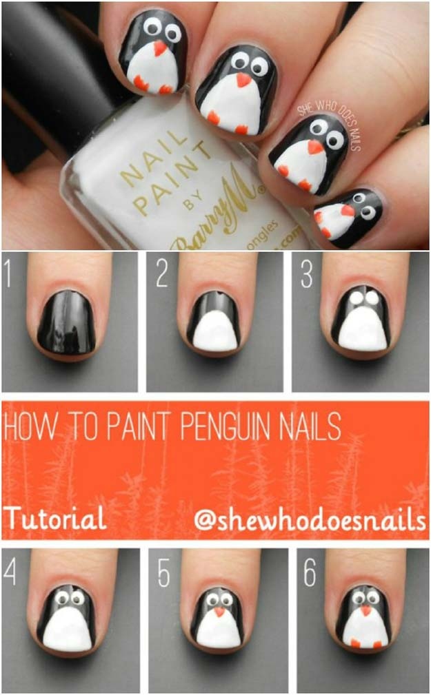 46 creative holiday nail art patterns cool diy nail art designs and patterns for christmas and holidays diy penguin nails solutioingenieria Gallery