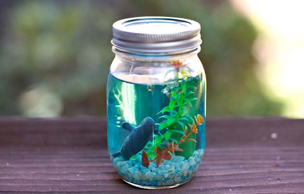 Cute DIY Mason Jar Gift Ideas for Teens - DIY Mason Jar Aquarium - Best Christmas Presents, Birthday Gifts and Cool Room Decor Ideas for Girls and Boy Teenagers - Fun Crafts and DIY Projects for Snow Globes, Dollar Store Crafts and Valentines for Kids