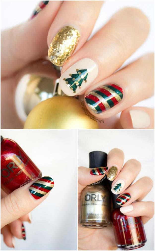 Cool DIY Nail Art Designs and Patterns for Christmas and Holidays - DIY Mix'n'Match Christmas Nail Art Tutorial - Do It Yourself Manicure Ideas With Christmas Trees, Candy Canes, Snowflakes and Glittery Designs for Holiday Nails - Step by Step Tutorials and Instructions http://diyprojectsforteens.com/holiday-nail-art-patterns/