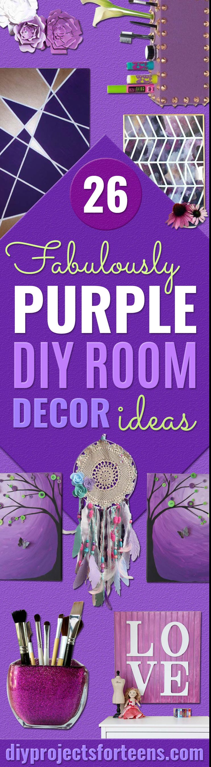 DIY Purple Room Decor - Best Bedroom Ideas and Projects in Purple - Cool Accessories, Crafts, Wall Art, Lamps, Rugs, Pillows for Adults, Teen and Girls Room