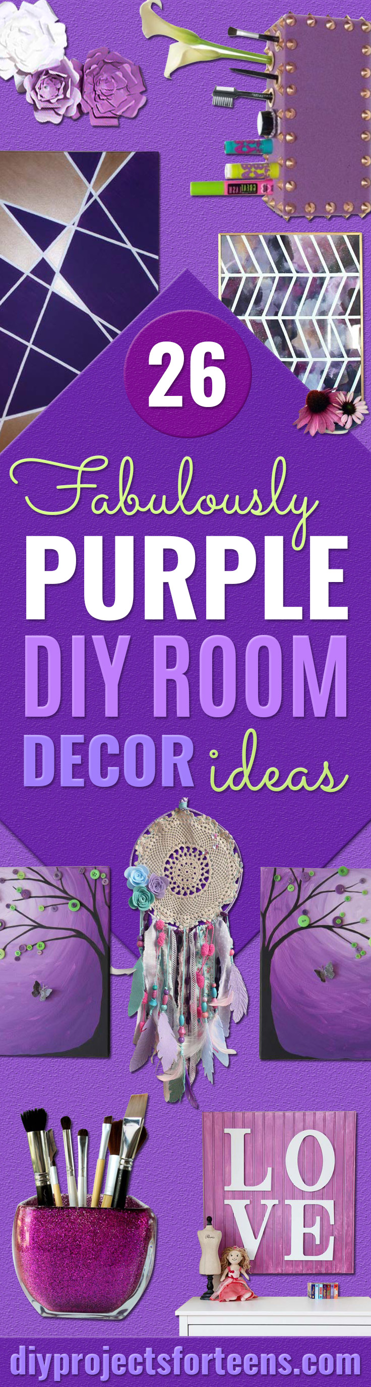 Diy Purple Room Decor Best Bedroom Ideas And Projects In Purple Cool Accessories