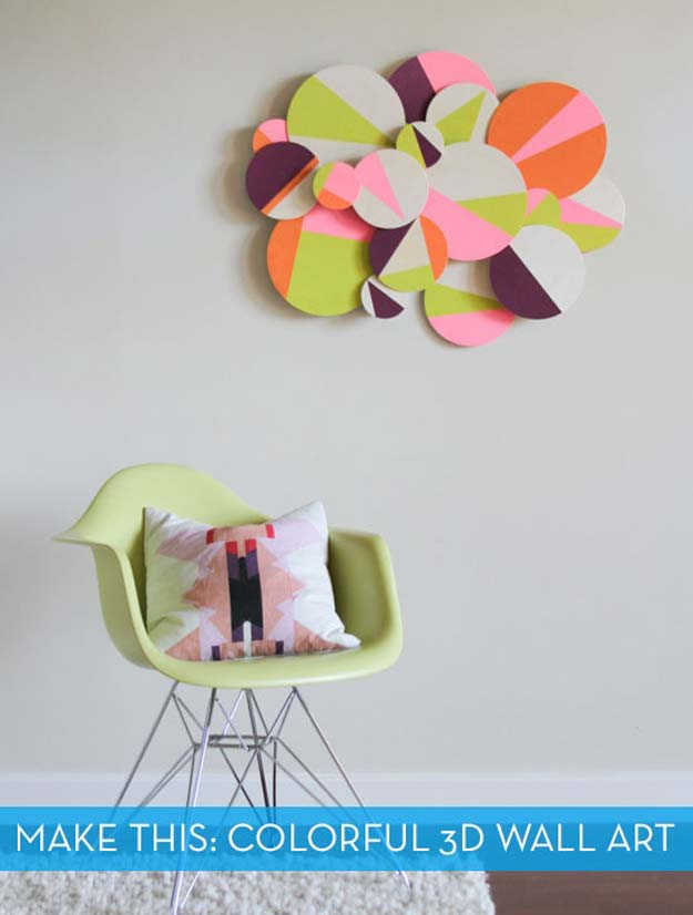 DIY Wall Art Ideas For Teen Rooms   DIY Colorful 3D Geometric Wall Art    Cheap