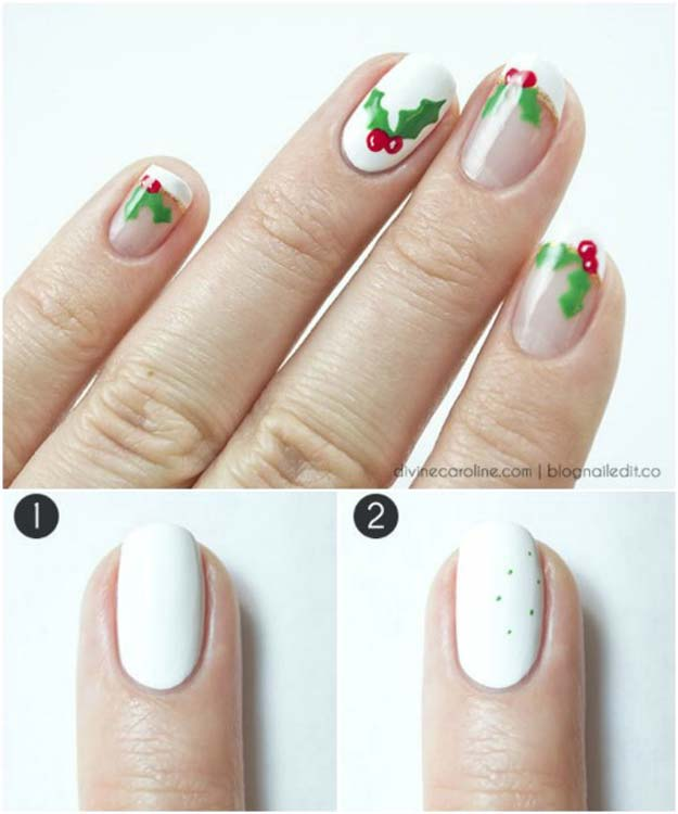 Cool DIY Nail Art Designs and Patterns for Christmas and Holidays -DIY Holly Jolly Mani Nails - Do It Yourself Manicure Ideas With Christmas Trees, Candy Canes, Snowflakes and Glittery Designs for Holiday Nails - Step by Step Tutorials and Instructions http://diyprojectsforteens.com/holiday-nail-art-patterns/