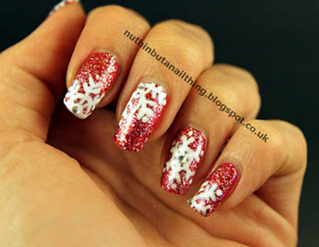 Cool DIY Nail Art Designs and Patterns for Christmas and Holidays -DIY Sparkly Snowflakes - Do It Yourself Manicure Ideas With Christmas Trees, Candy Canes, Snowflakes and Glittery Designs for Holiday Nails - Step by Step Tutorials and Instructions http://diyprojectsforteens.com/holiday-nail-art-patterns/