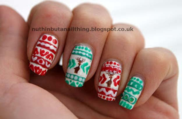 Cool DIY Nail Art Designs and Patterns for Christmas and Holidays -DIY Christmas Jumper Nails - Do It Yourself Manicure Ideas With Christmas Trees, Candy Canes, Snowflakes and Glittery Designs for Holiday Nails - Step by Step Tutorials and Instructions http://diyprojectsforteens.com/holiday-nail-art-patterns/