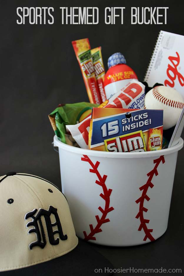 Cool DIY Gifts to Make For Your Boyfriend - DIY Sports Themed Gift Bucket - Easy, Cheap and Awesome Gift Ideas to Make for Guys - Fun Crafts and Presents to Give to Boyfriends - Men Love These Gift Card Holders, Mason Jar Kits, Thoughtful Handmade Christmas Gifts - DIY Projects for Teens http://diyprojectsforteens.com/diy-gifts-boyfriend