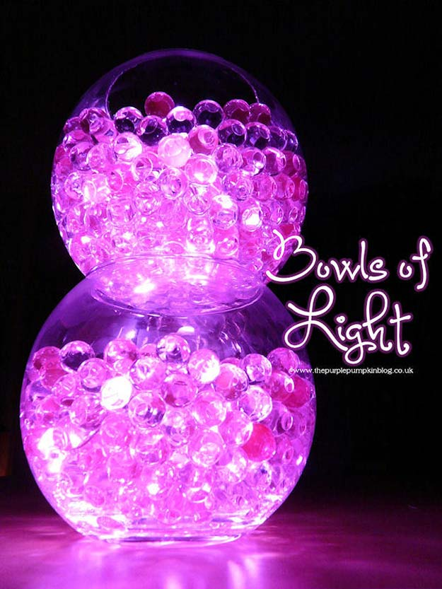 DIY Purple Room Decor - DIY Bowls of Light - Best Bedroom Ideas and Projects in Purple - Cool Accessories, Crafts, Wall Art, Lamps, Rugs, Pillows for Adults, Teen and Girls Room http://diyprojectsforteens.com/diy-room-decor-purple