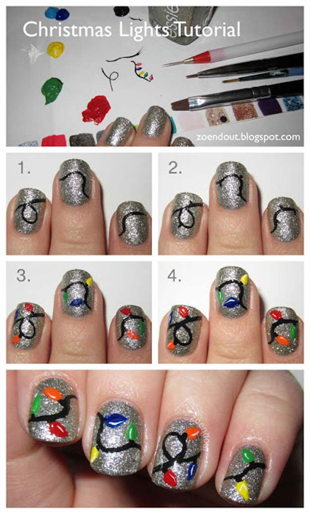 Cool DIY Nail Art Designs and Patterns for Christmas and Holidays -DIY Christmas Lights Nails - Do It Yourself Manicure Ideas With Christmas Trees, Candy Canes, Snowflakes and Glittery Designs for Holiday Nails - Step by Step Tutorials and Instructions http://diyprojectsforteens.com/holiday-nail-art-patterns/
