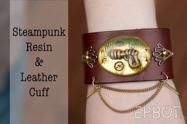 Cool Steampunk DIY Ideas - DIY Steampunk Resin & Leather Cuff - Easy Home Decor, Costume Ideas, Jewelry, Crafts, Furniture and Steampunk Fashion Tutorials - Clothes, Accessories and Best Step by Step Tutorials - Creative DIY Projects for Adults, Teens and Tweens