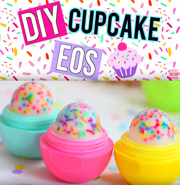 Best DIY EOS Projects - DIY Cupcake EOS Lip Balm! - Turn Old EOS Containers Into Cool Crafts Ideas Like Lip Balm, Galaxy, Gumball Machine, and Watermelon - Fun, Cheap and Easy DIY Projects Tutorials and Videos for Teens, Tweens, Kids and Adults s