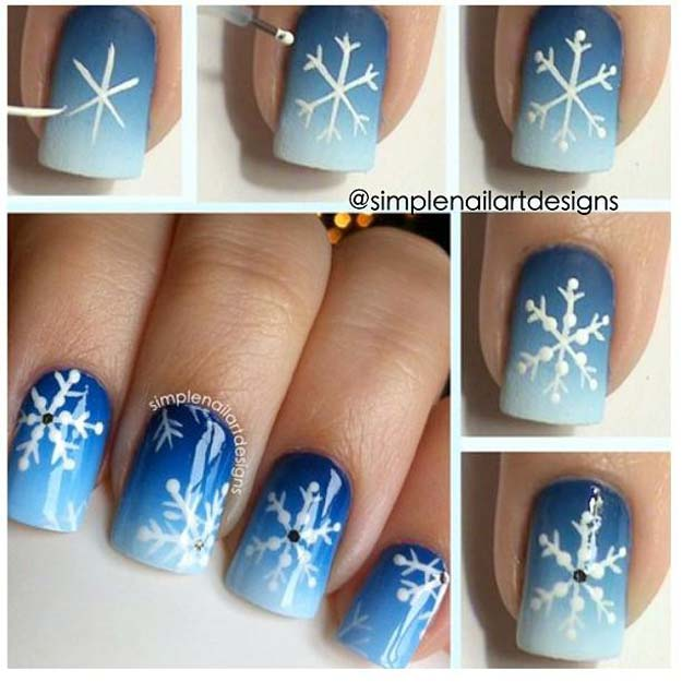 Cool DIY Nail Art Designs and Patterns for Christmas and Holidays - DIY Snowflake Nail Art Tutorial - Do It Yourself Manicure Ideas With Christmas Trees, Candy Canes, Snowflakes and Glittery Designs for Holiday Nails - Step by Step Tutorials and Instructions http://diyprojectsforteens.com/holiday-nail-art-patterns/