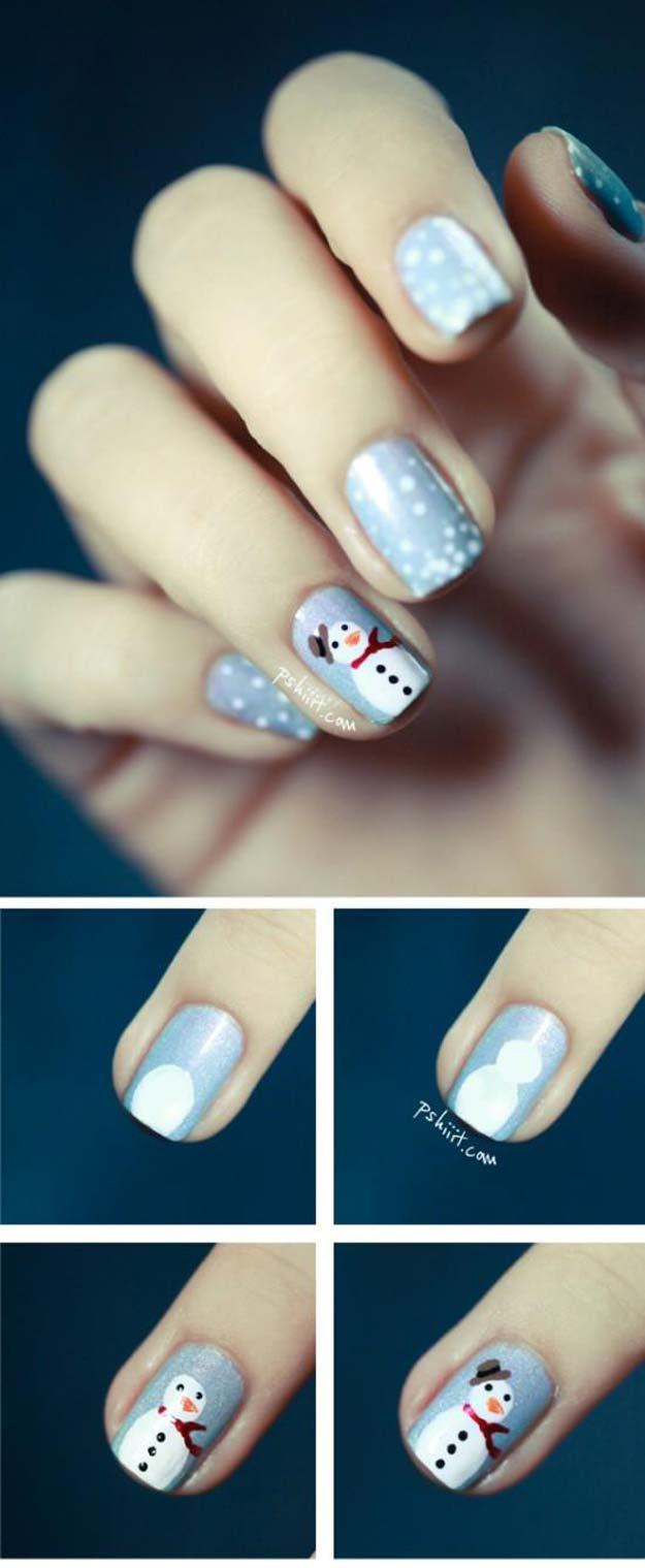 Cool DIY Nail Art Designs and Patterns for Christmas and Holidays - DIY Frosty the Snowman - Do It Yourself Manicure Ideas With Christmas Trees, Candy Canes, Snowflakes and Glittery Designs for Holiday Nails - Step by Step Tutorials and Instructions http://diyprojectsforteens.com/holiday-nail-art-patterns/