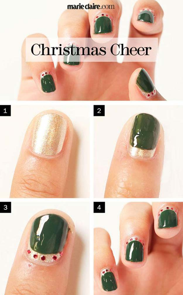 Cool DIY Nail Art Designs and Patterns for Christmas and Holidays -DIY Christmas Cheer - Do It Yourself Manicure Ideas With Christmas Trees, Candy Canes, Snowflakes and Glittery Designs for Holiday Nails - Step by Step Tutorials and Instructions http://diyprojectsforteens.com/holiday-nail-art-patterns/