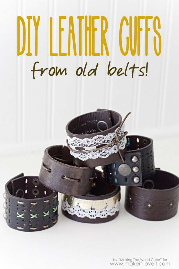 Cool Steampunk DIY Ideas   PDIY Leather Cuffs From Old Belts   Easy Home  Decor,