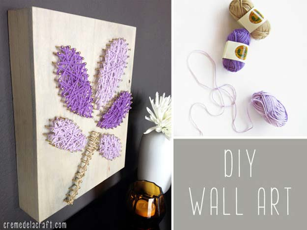 Diy Purple Room Decor Yarn Nails Wall Best Bedroom Ideas And Projects