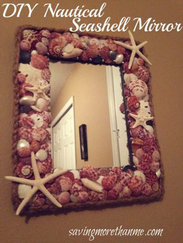 Cool Glue Gun Crafts and DIY Projects - DIY Nautical Seashell Mirror - Creative Ways to Use Your Glue Gun for Awesome Home Decor, DIY Gifts , Jewelry and Fashion - Fun Projects and Easy, Cheap DIY Ideas for Kids, Adults and Teens - Handmade Christmas Presents on A Budget http://diyprojectsforteens.com/fun-glue-gun-crafts/