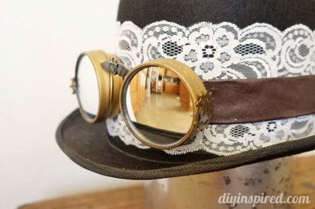 Cool Steampunk DIY Ideas - DIY Steampunk Top Hat and Goggles - Easy Home Decor, Costume Ideas, Jewelry, Crafts, Furniture and Steampunk Fashion Tutorials - Clothes, Accessories and Best Step by Step Tutorials - Creative DIY Projects for Adults, Teens and Tweens