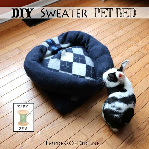 DIY Projects for Your Pet - Easy DIY Sweater Pet Bed - Cat and Dog Beds, Treats, Collars and Easy Crafts to Make for Toys - Homemade Dog Biscuits, Food and Treats - Fun Ideas for Teen, Tweens and Adults to Make for Pets
